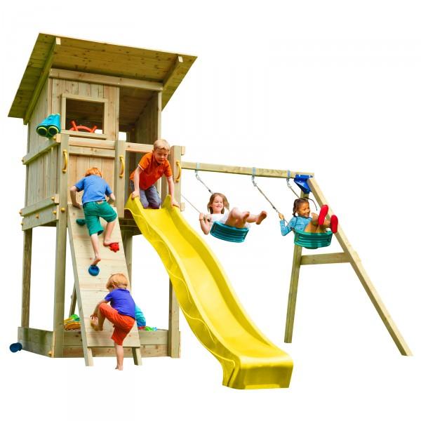 Spielturm BEACH HUT mit Rutsche + Doppelschaukel + Kletterwand