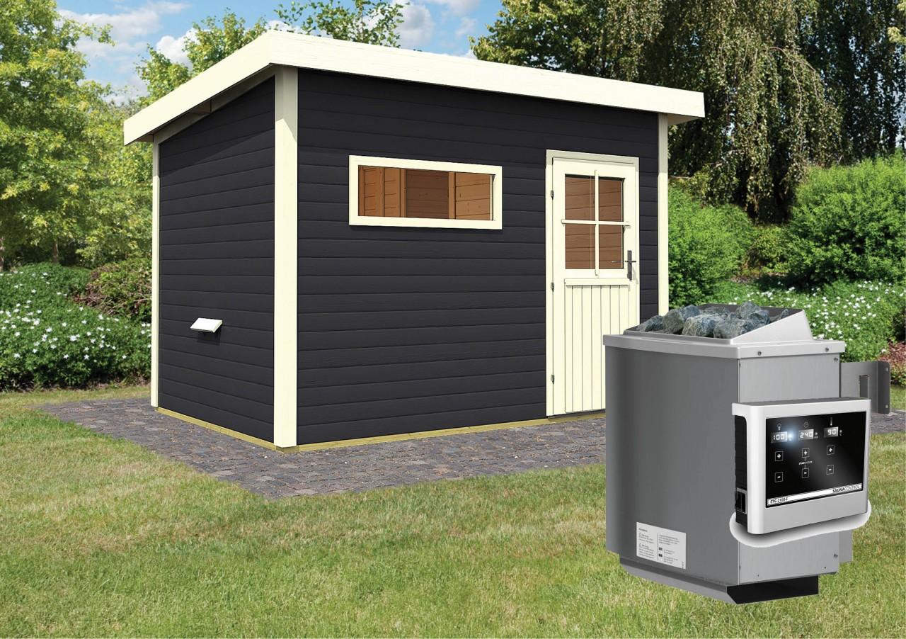 Gartensauna SKROLLAN 2 opalgrau 3,37 x 2,31 m 38 mm mit 9 kW Ofen 9.0 kW Ofen ext. Steuerung
