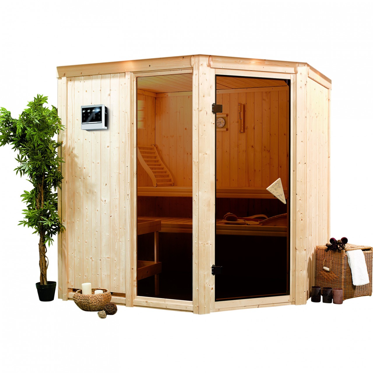 Sauna FIONA 1,96 x 1,70 m - 9.0 kW Ofen ext. St...