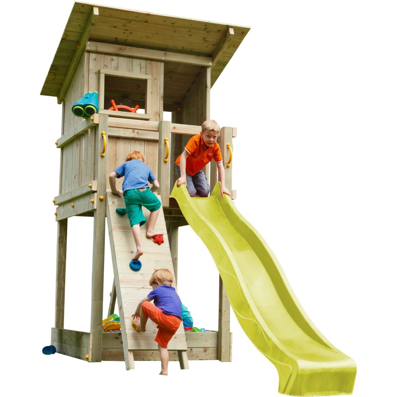 Blue Rabbit  Spielturm BEACH HUT mit Rutsche + Kletterwand  Gelb DH467