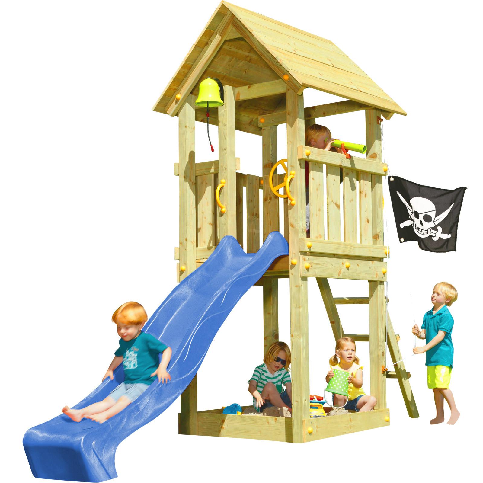 blue rabbit spielturm kiosk mit rutsche kletterturm sandkasten lenkrad flagge ebay. Black Bedroom Furniture Sets. Home Design Ideas