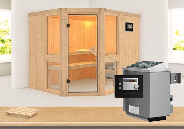 Sauna AMELIA 3 2,31 x 1,96 m 68 mm mit 9 kW Ofen 9.0 kW Ofen ext. Steuerung