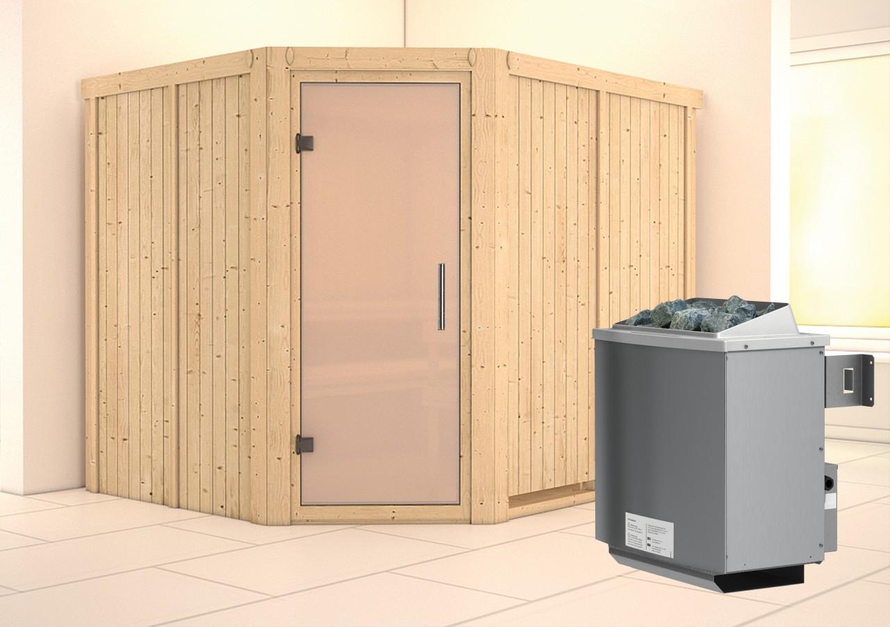 Sauna MALIN 2,31 x 1,96 m 68 mm mit 9 kW Ofen 9.0 kW Ofen integr. Steuerung
