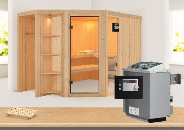 Sauna BRIA 2,74 x 1,96 m 68 mm mit 9 kW Ofen 9.0 kW Ofen ext. Steuerung