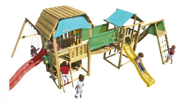MEGA 1 Spielturm Set mit Schaukel, Kletterwand, Hängebrücke und Rutschen