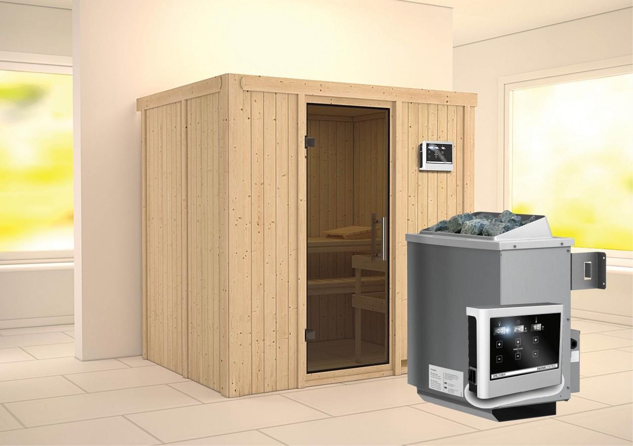 Sauna BODIN 1,96 x 1,51 m 9.0 kW Ofen ext. Steuerung mit Dachkran bei Demmelhuber Holz & Raum