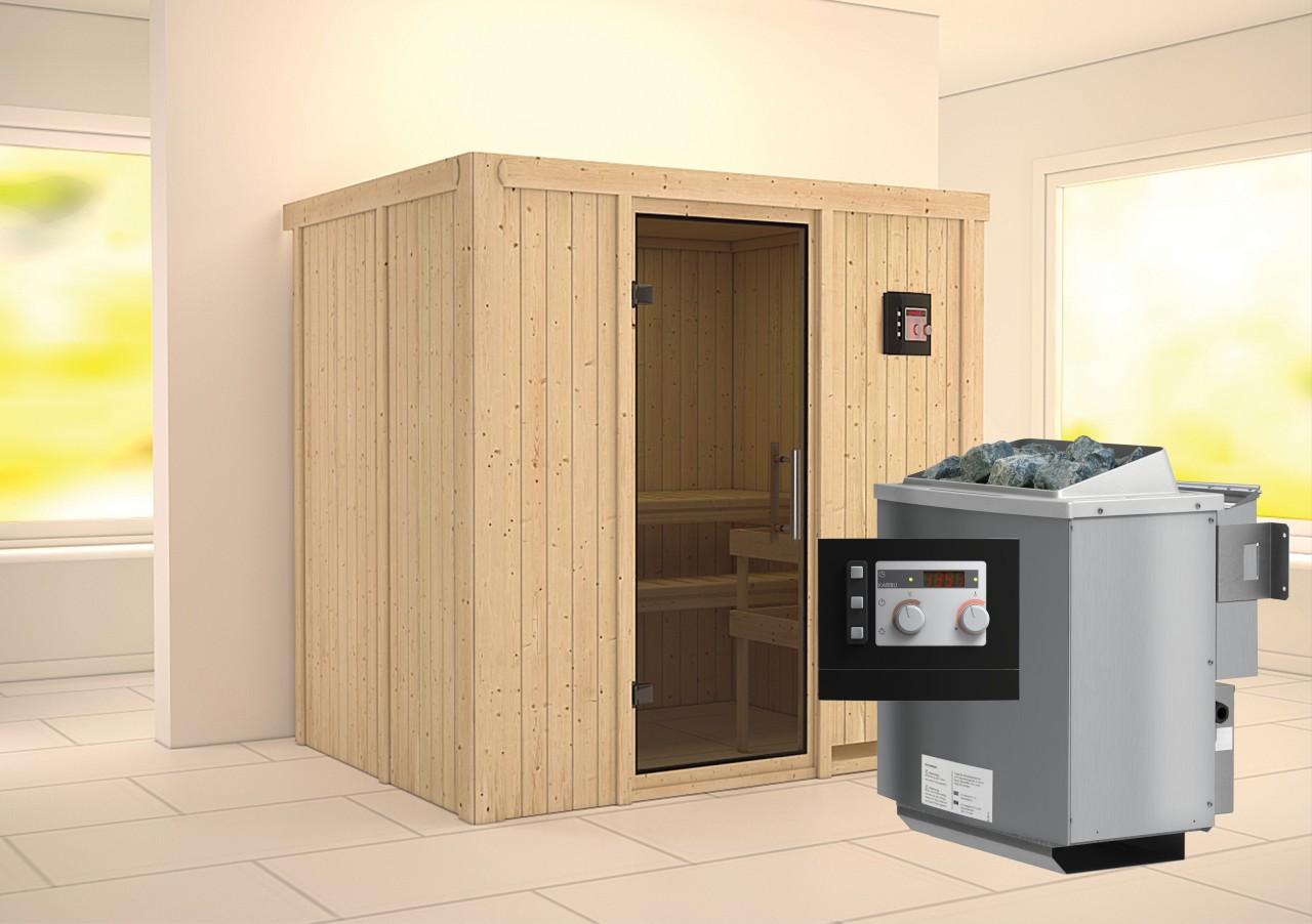 Sauna BODIN 1,96 x 1,51 m 68 mm mit 9 kW Ofen 9.0 kW Bio-Kombiofen ext. Steuerung