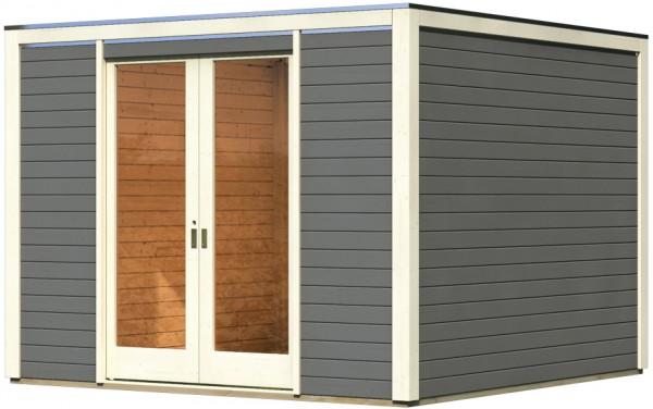 Gartenhaus Front CUBUS terragrau 3,2 x 3,2 m