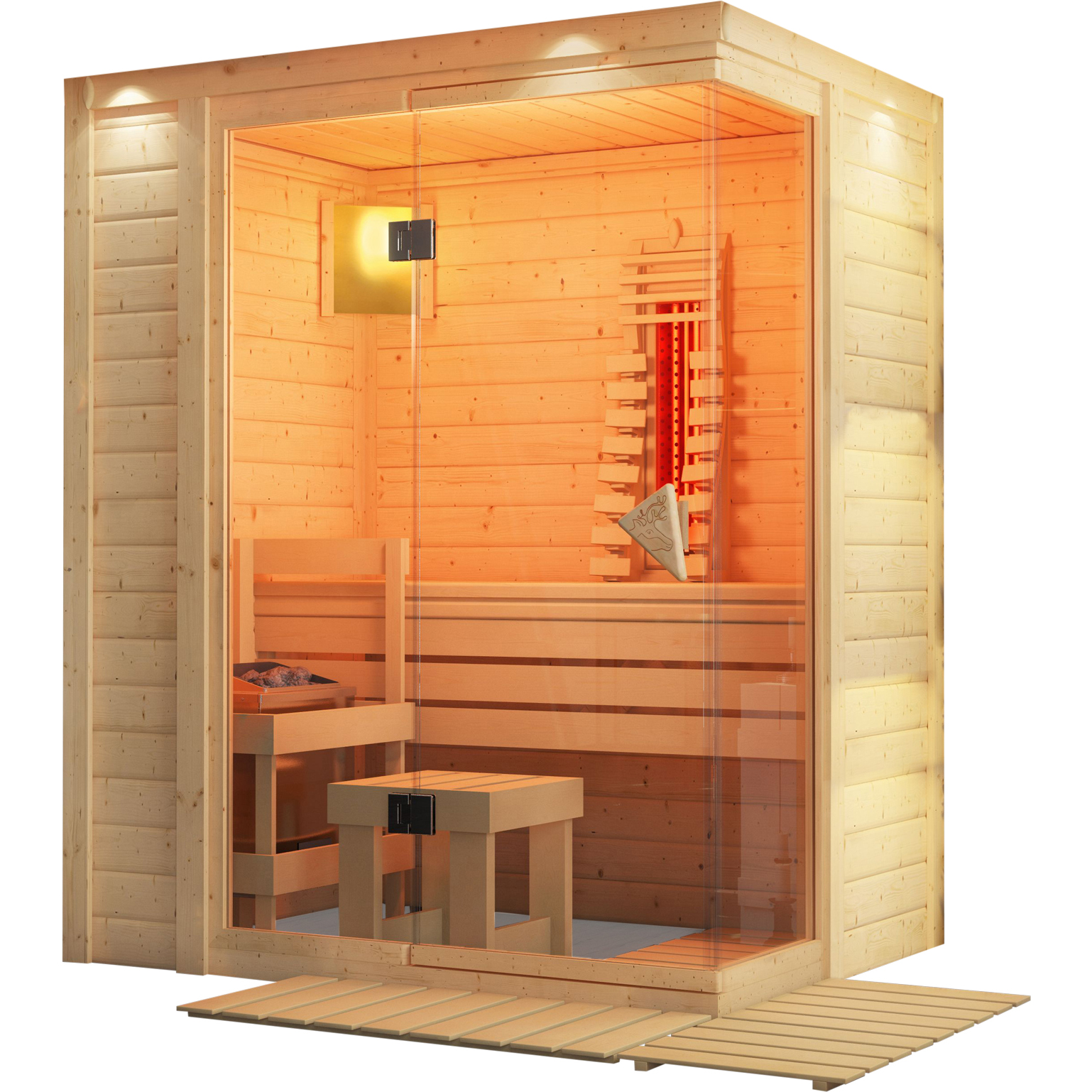 karibu massivholzsauna flurina 1 73 x 1 27 m 40 mm mit 9 kw ofen sauna heimsauna ebay. Black Bedroom Furniture Sets. Home Design Ideas