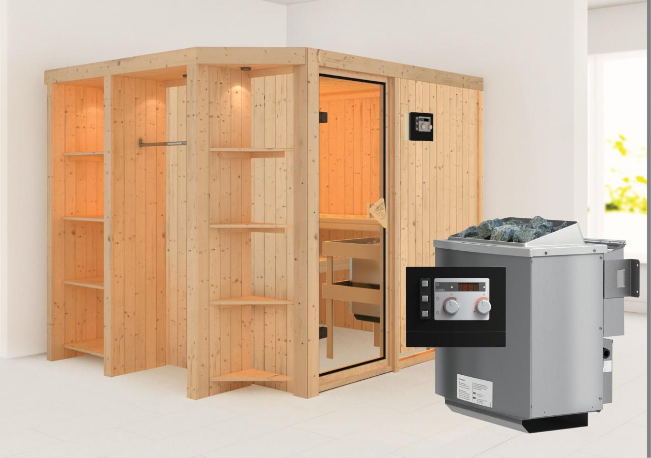 Sauna JUNA 2,39 x 1,96 m 68 mm mit 9 kW Ofen 9.0 kW Bio-Kombiofen ext. Steuerung