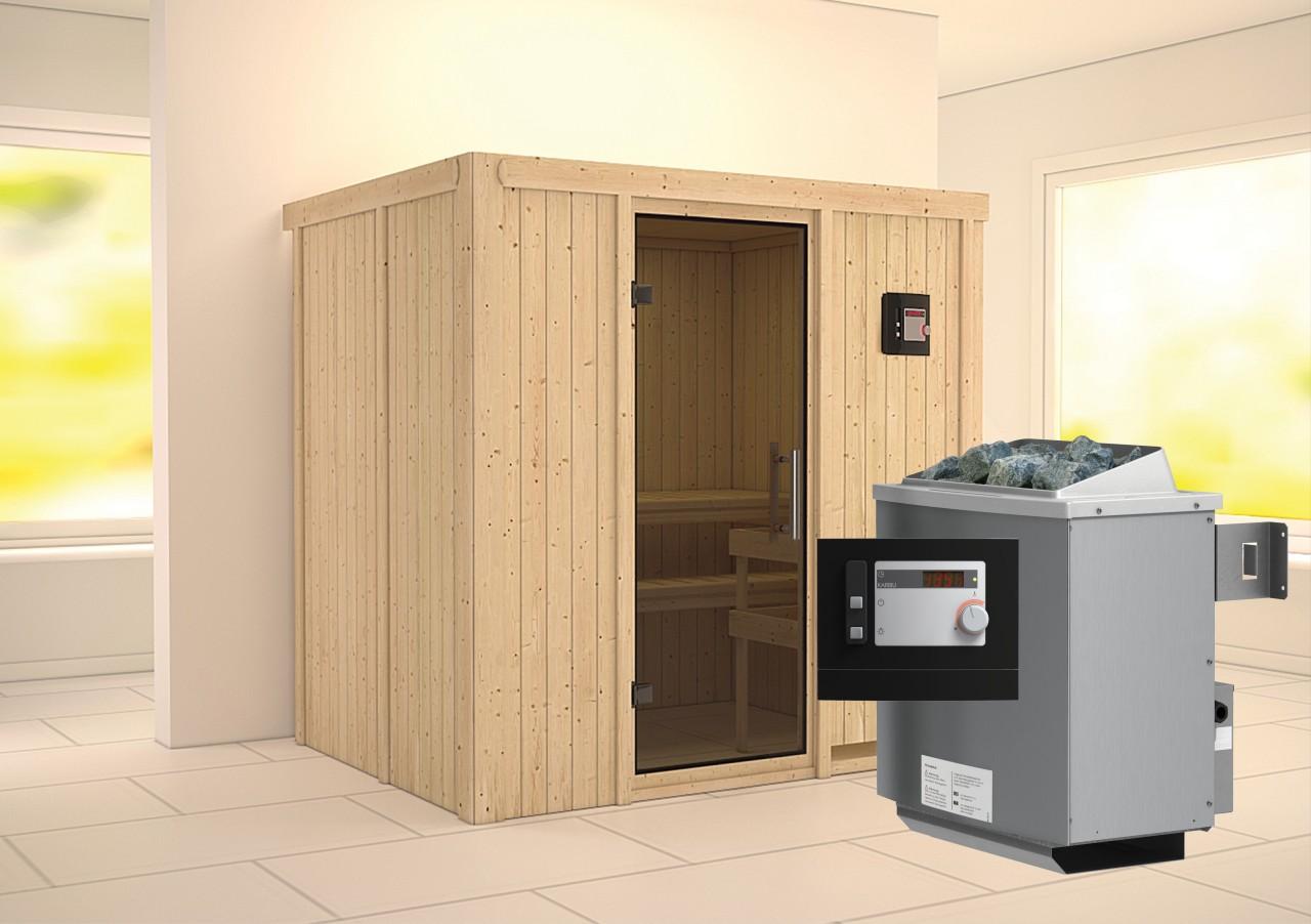 Sauna BODIN 1,96 x 1,51 m 68 mm mit 9 kW Ofen 9.0 kW Ofen ext. Steuerung