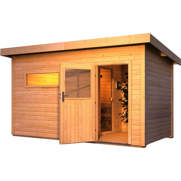 karibu gartensauna skrollan 3 mit vorraum 4 29 x 2 62 m 38 mm mit 9 kw ofen ebay. Black Bedroom Furniture Sets. Home Design Ideas