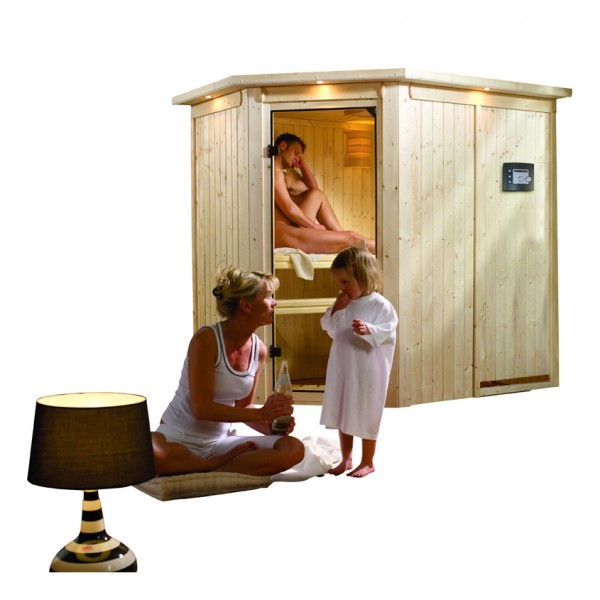 karibu sauna 230 volt saja 1 52 x 1 95 m 68 mm mit 3 6 kw ofen energiesparsauna ebay. Black Bedroom Furniture Sets. Home Design Ideas