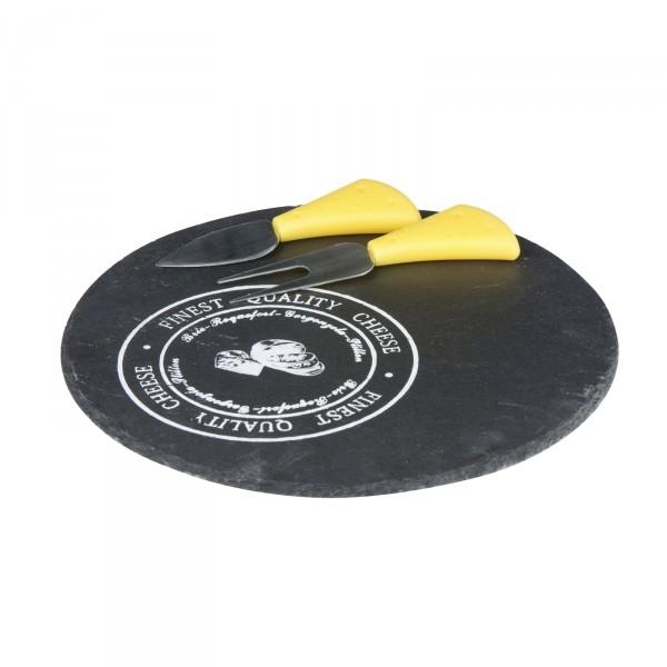 Käseplatte CHEESE-SET RUND Käsemesser Schieferplatte Ø 23,00 cm