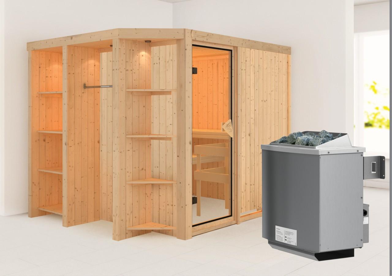Sauna JUNA 2,39 x 1,96 m 68 mm mit 9 kW Ofen 9.0 kW Ofen integr. Steuerung