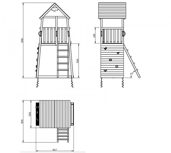 blue rabbit spielturm belvedere mit rutsche einzelschaukel kletterwand holz ebay. Black Bedroom Furniture Sets. Home Design Ideas