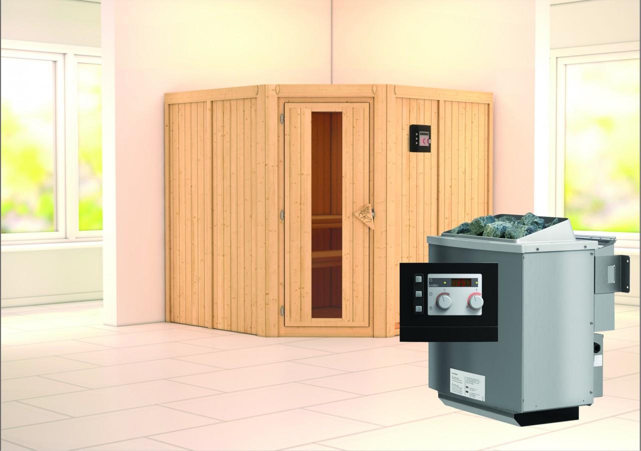 Sauna JARIN 1,96 x 1,96 m 68 mm mit 9 kW Ofen 9.0 kW Bio-Kombiofen ext. Steuerung