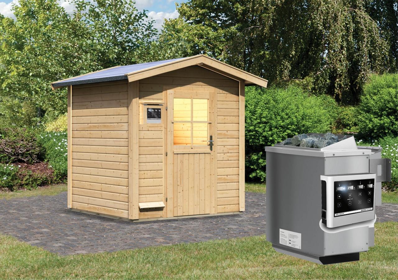 Gartensauna LASSE 1,96 x 1,96 m 38 mm mit 9 kW Ofen 9.0 kW Bio-Kombiofen ext. Steuerung