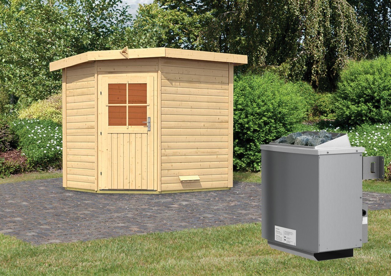 Gartensauna MIKKA 2,31 x 1,96 m 38 mm mit 9 kW Ofen 9.0 kW Ofen integr. Steuerung