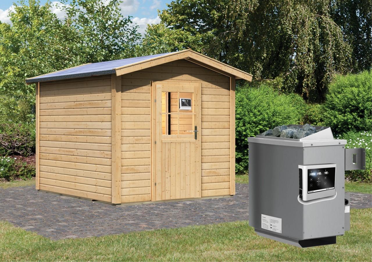 Gartensauna BOSSE mit Vorraum 2,31 x 3,11 m 38 mm mit 9 kW Ofen 9.0 kW Ofen ext. Steuerung