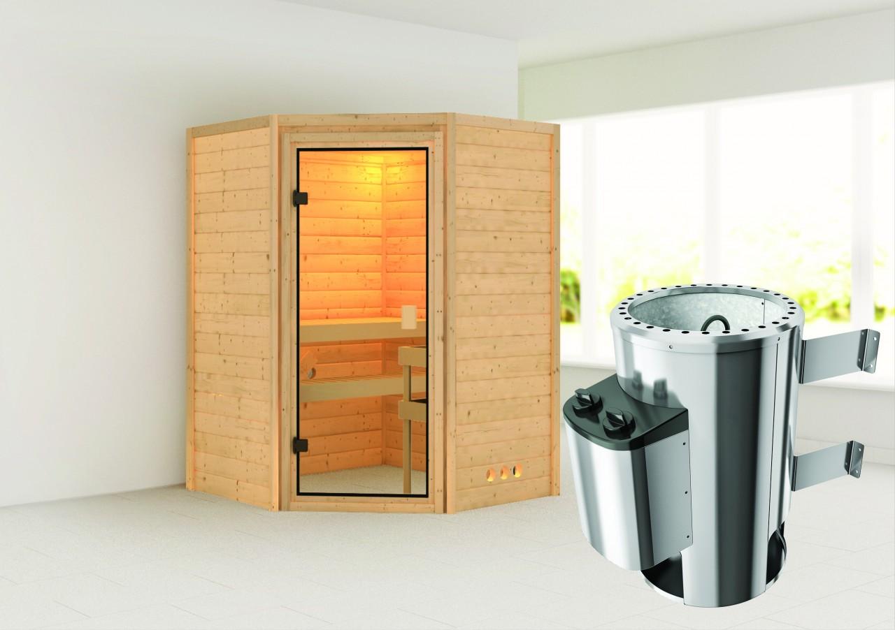 Sauna ALICJA 1,46 x 1,46 m - 3.6 kW Ofen integr. Steuerung ohne Dachkranz