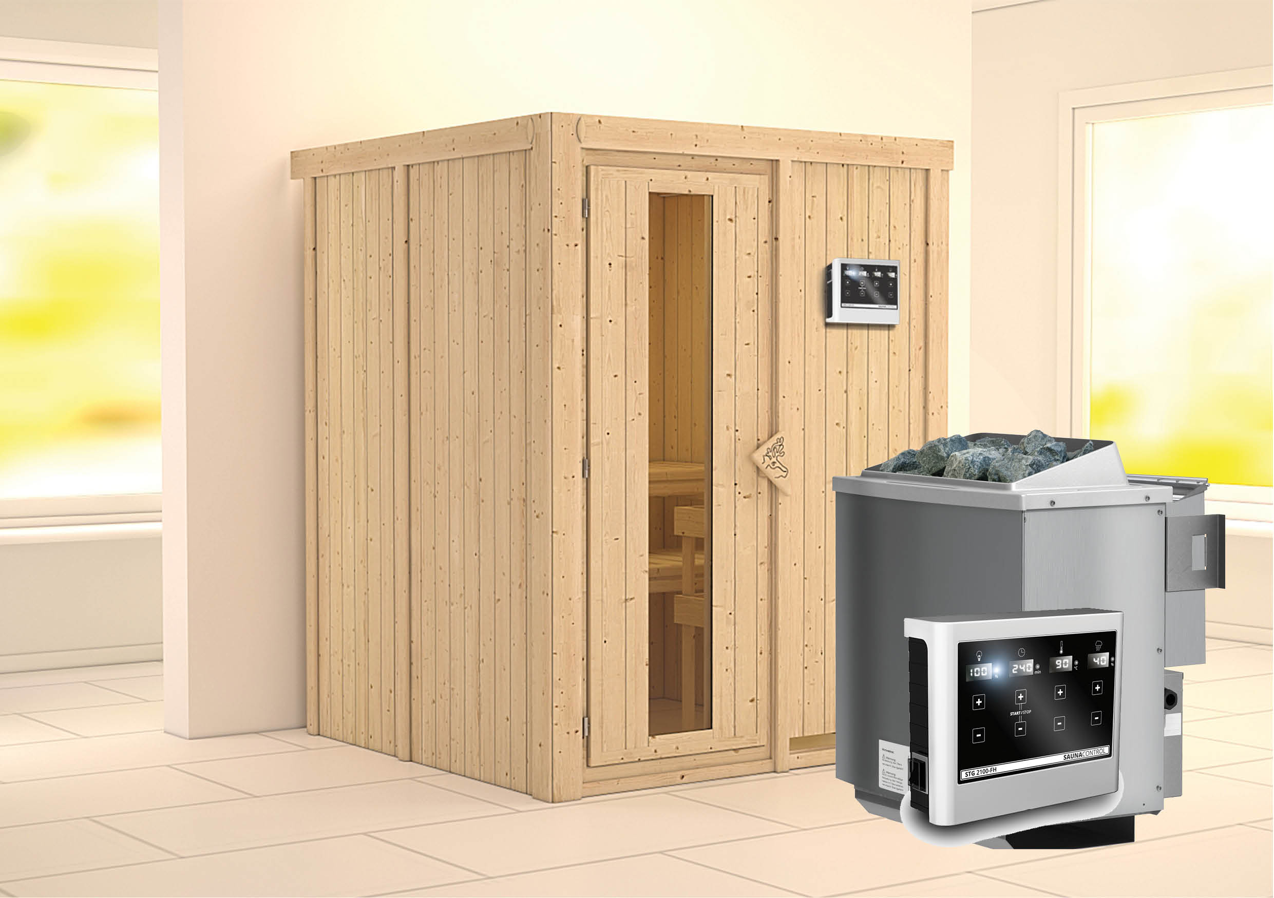 karibu sauna norin 1 51 x 1 51 m 68 mm mit 9 kw ofen saunakabine elementsauna ebay. Black Bedroom Furniture Sets. Home Design Ideas