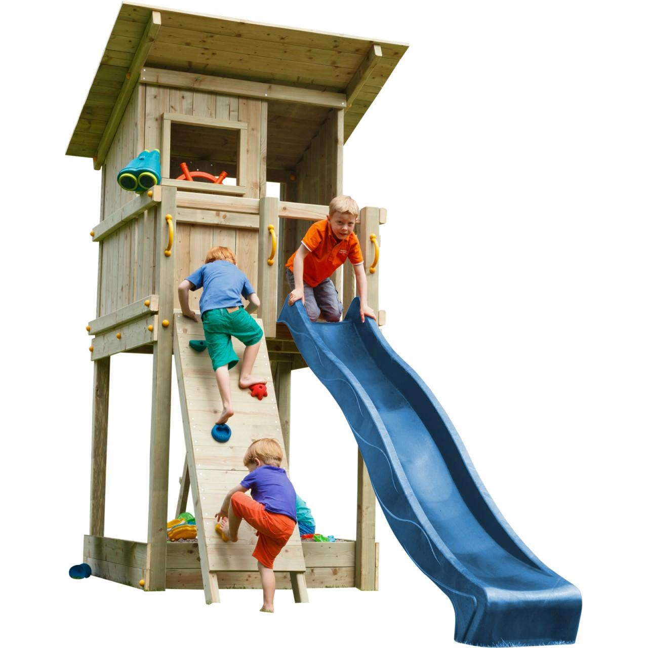 Blue Rabbit  Spielturm BEACH HUT mit Rutsche + Kletterwand  Blau DH468