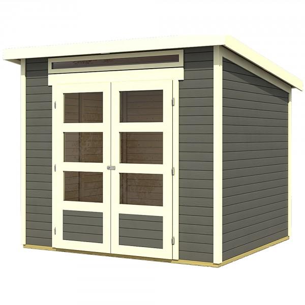 gartenhaus hit 2 42 x 2 17 m flachdach terragrau 19 mm inkl premium dachbahn ebay. Black Bedroom Furniture Sets. Home Design Ideas