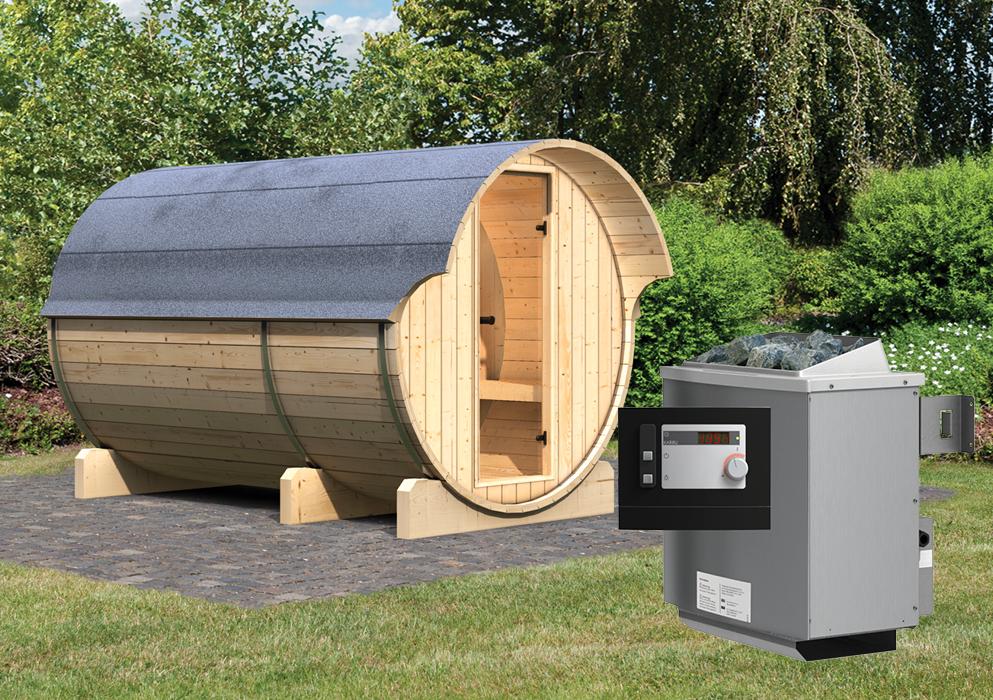 karibu fass sauna 3 2 16 x 3 30 m 42 mm mit 9 kw ofen gartensauna au ensauna ebay. Black Bedroom Furniture Sets. Home Design Ideas