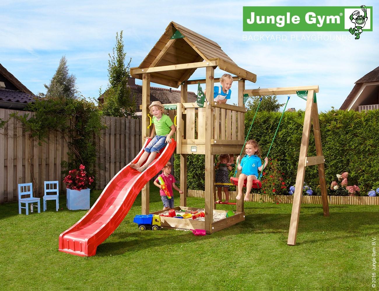 jungle gym lillis house spielturm set mit einzelschaukel rutsche sandkasten ebay. Black Bedroom Furniture Sets. Home Design Ideas