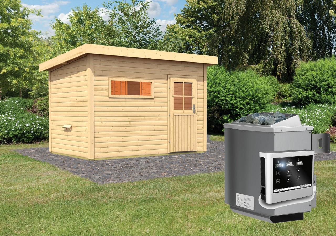 Gartensauna SKROLLAN 2 3,37 x 2,31 m 38 mm mit 9 kW Ofen 9.0 kW Ofen ext. Steuerung