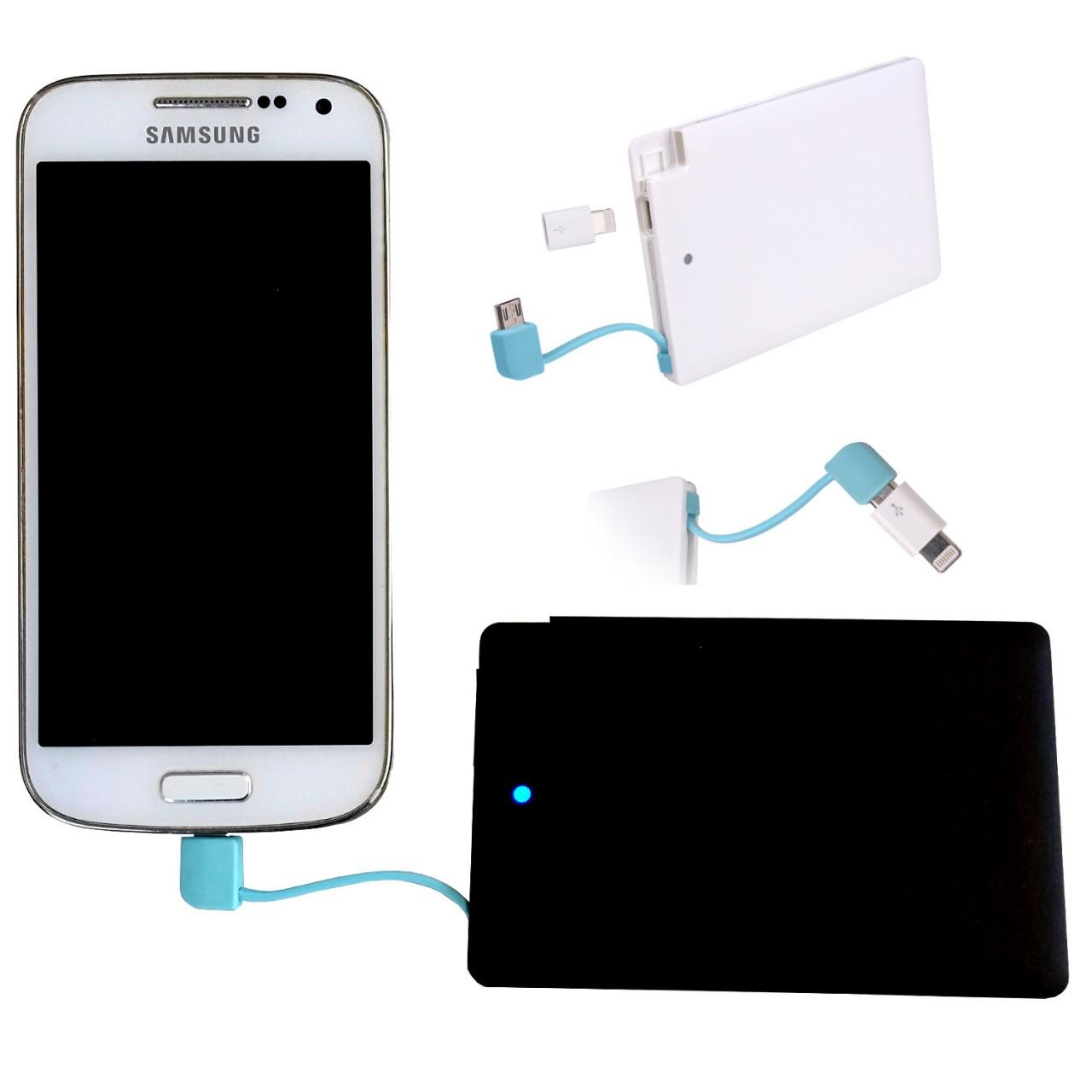 Powerbank SLIM mobiler Akku 2600mAh Ladegerät USB Handy Smartphone ultra flach