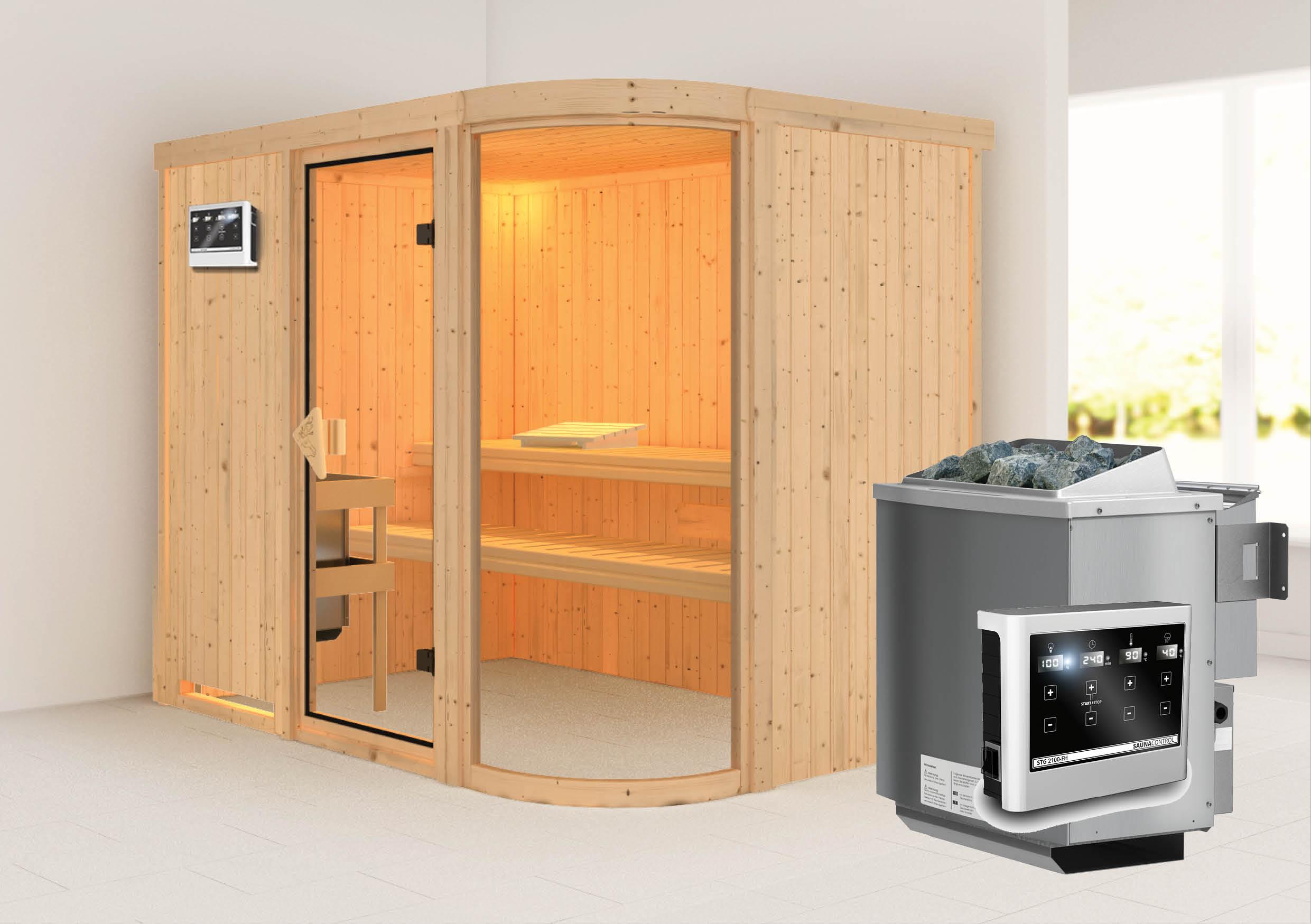 karibu sauna parima 4 2 31 x 1 70 m 68 mm mit 9 kw ofen saunakabine elementsauna ebay. Black Bedroom Furniture Sets. Home Design Ideas