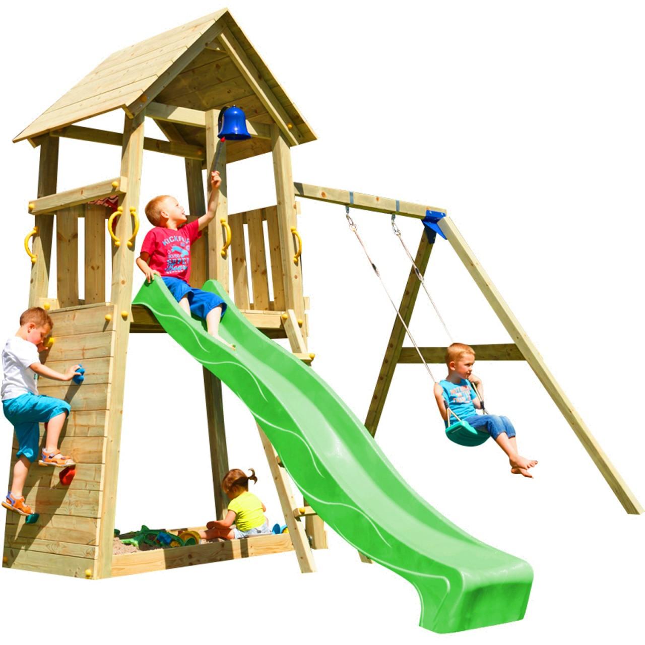 Blue Rabbit  Spielturm BELVEDERE mit Rutsche + Einzelschaukel   DH222