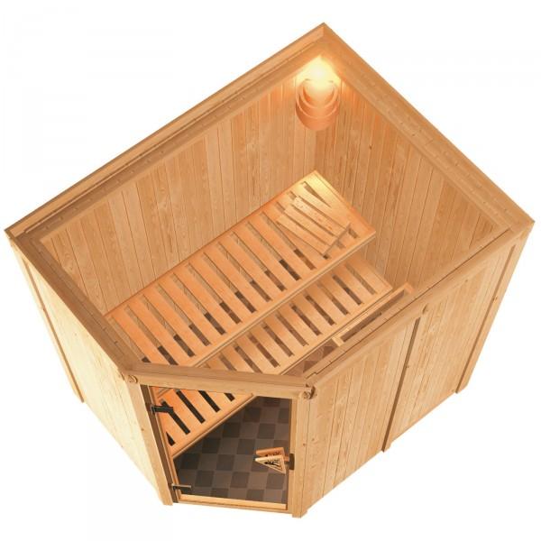 karibu sauna carin 1 52 x 1 96 m 68 mm mit 9 kw ofen saunakabine elementsauna ebay. Black Bedroom Furniture Sets. Home Design Ideas
