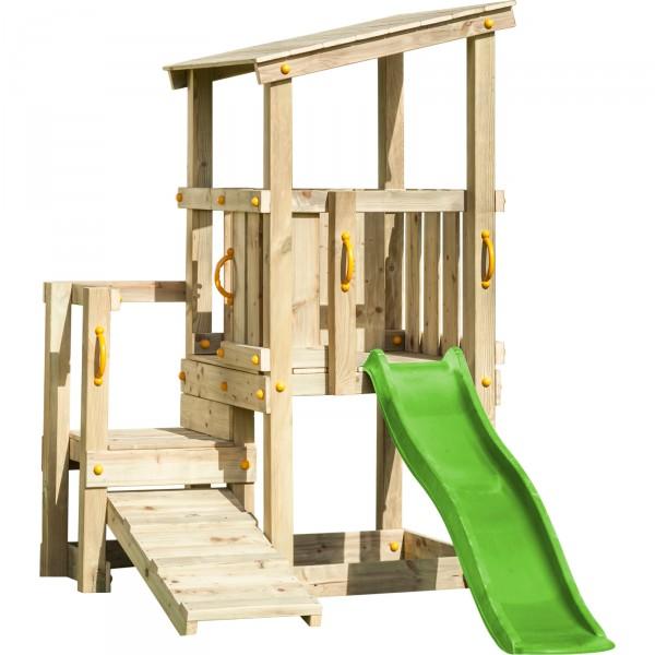 Spielturm CASCADE mit Rutsche 1,75 m apfelgrün + Kletterrampe