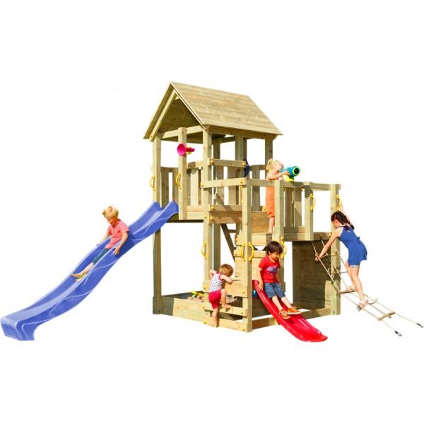 Spielturm PENTHOUSE mit Rutsche 2,90 m + Babyrutsche + Kletternetz