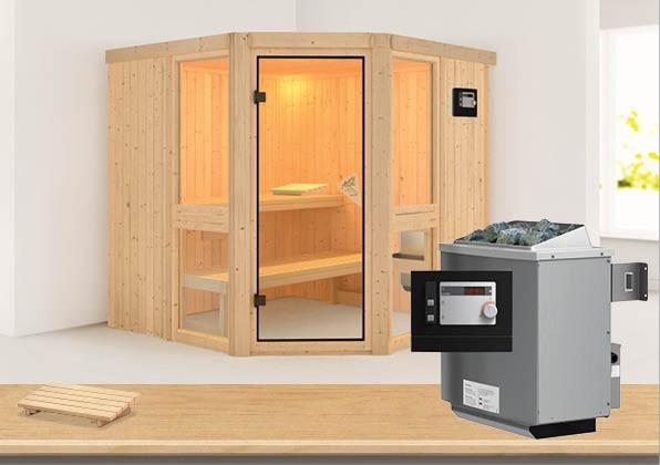Sauna AMELIA 2 1,96 x 1,96 m 68 mm mit 9 kW Ofen 9.0 kW Ofen ext. Steuerung