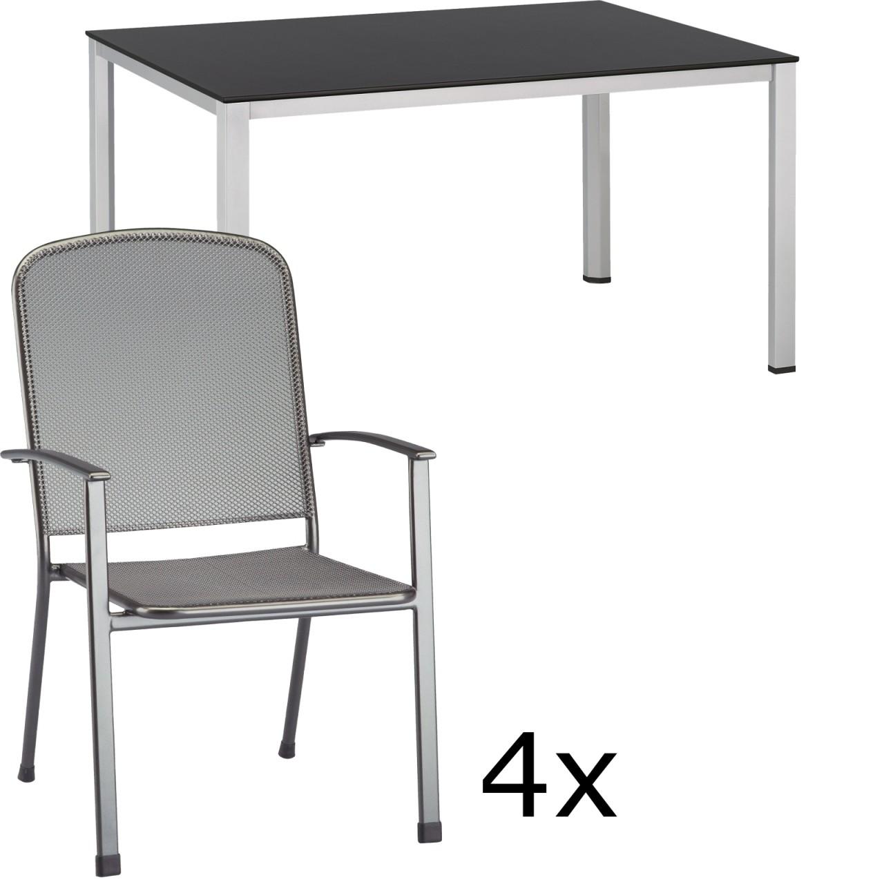Gartenmöbel Set VIGO silber/anthrazit/eisengrau 5-tlg.