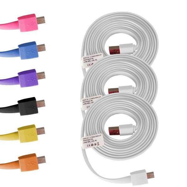 3 x USB Kabel 2,00 m Silikon Micro USB Android