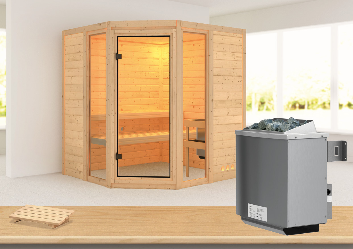 karibu massivholzsauna sinai 2 1 93 x 1 84 m 40 mm mit 9 kw ofen sauna heimsauna ebay. Black Bedroom Furniture Sets. Home Design Ideas