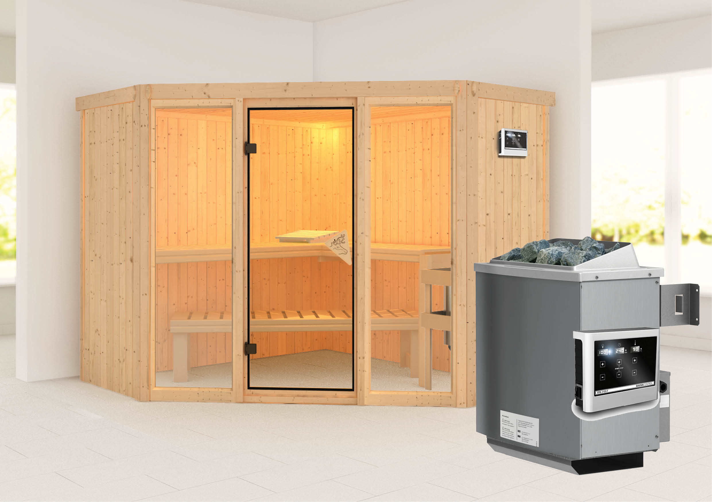 karibu elementsauna sauna flora 2 mit saunaofen 9kw ebay. Black Bedroom Furniture Sets. Home Design Ideas