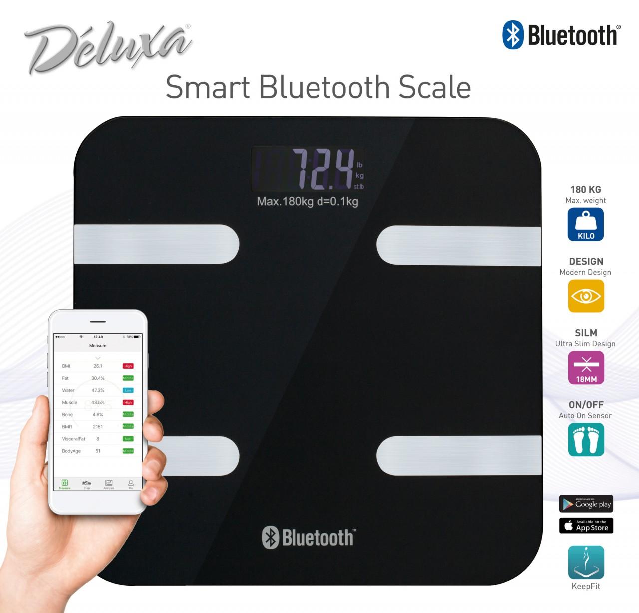 Körperfettwaage digital mit Bluetooth iOS App s...
