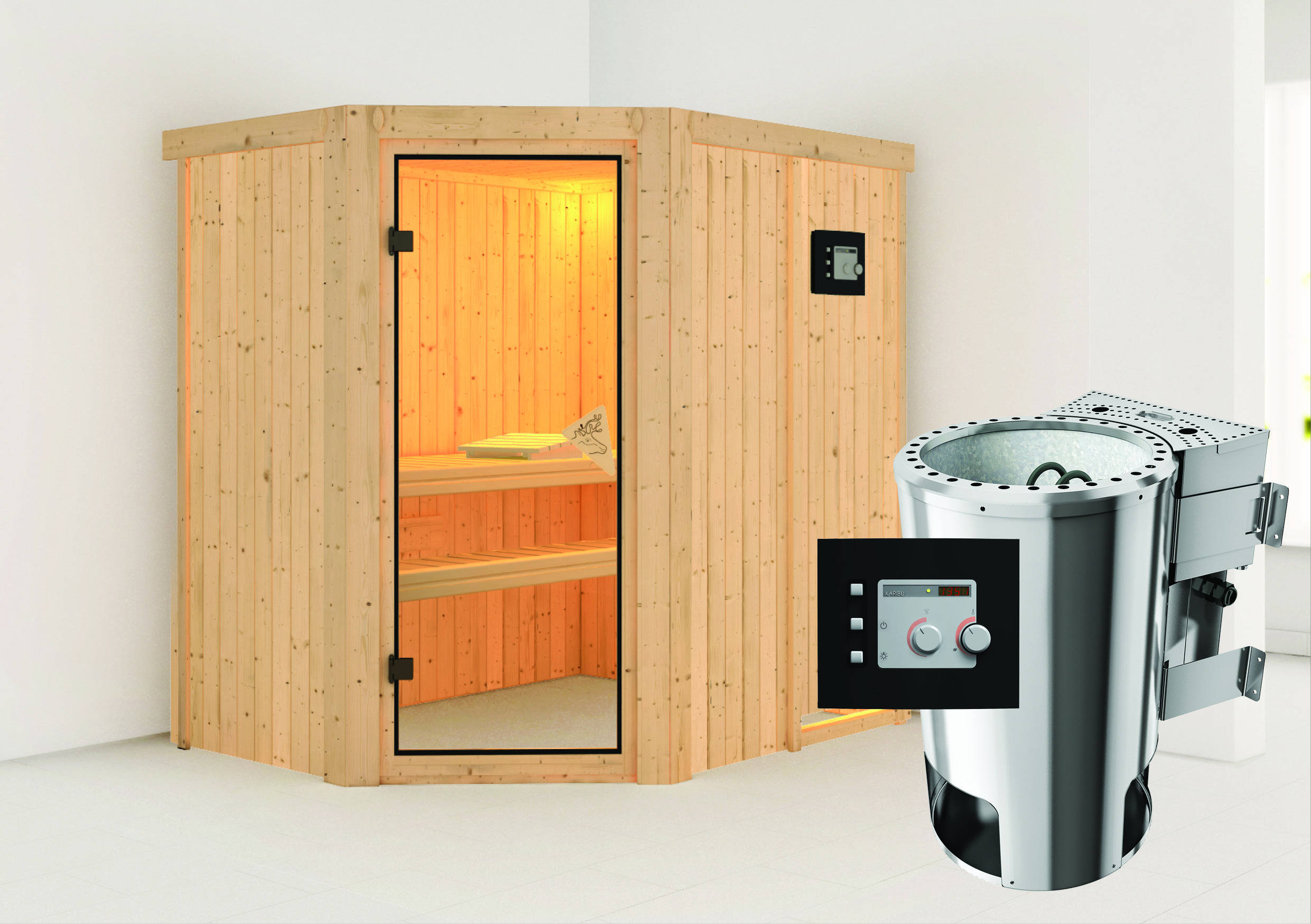 karibu sauna saja 230 volt mit bio saunaofen 3 6kw extern. Black Bedroom Furniture Sets. Home Design Ideas