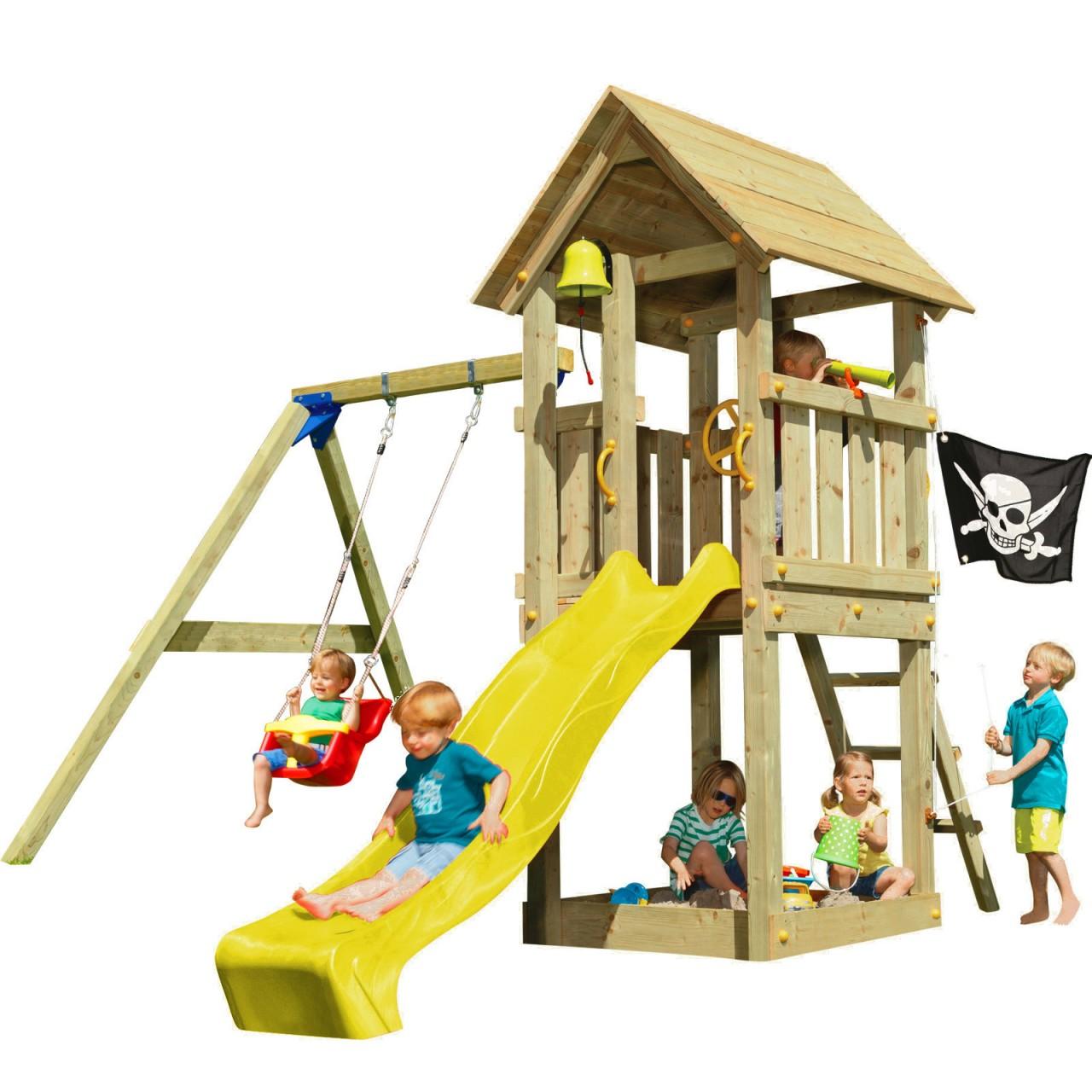 Spielturm KIOSK mit Rutsche + Babyschaukel Gelb