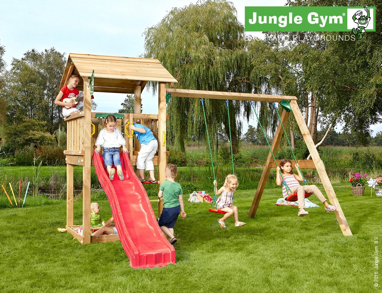 jungle gym jasons casa spielturm set mit schaukel kletterturm mit rutsche ebay. Black Bedroom Furniture Sets. Home Design Ideas
