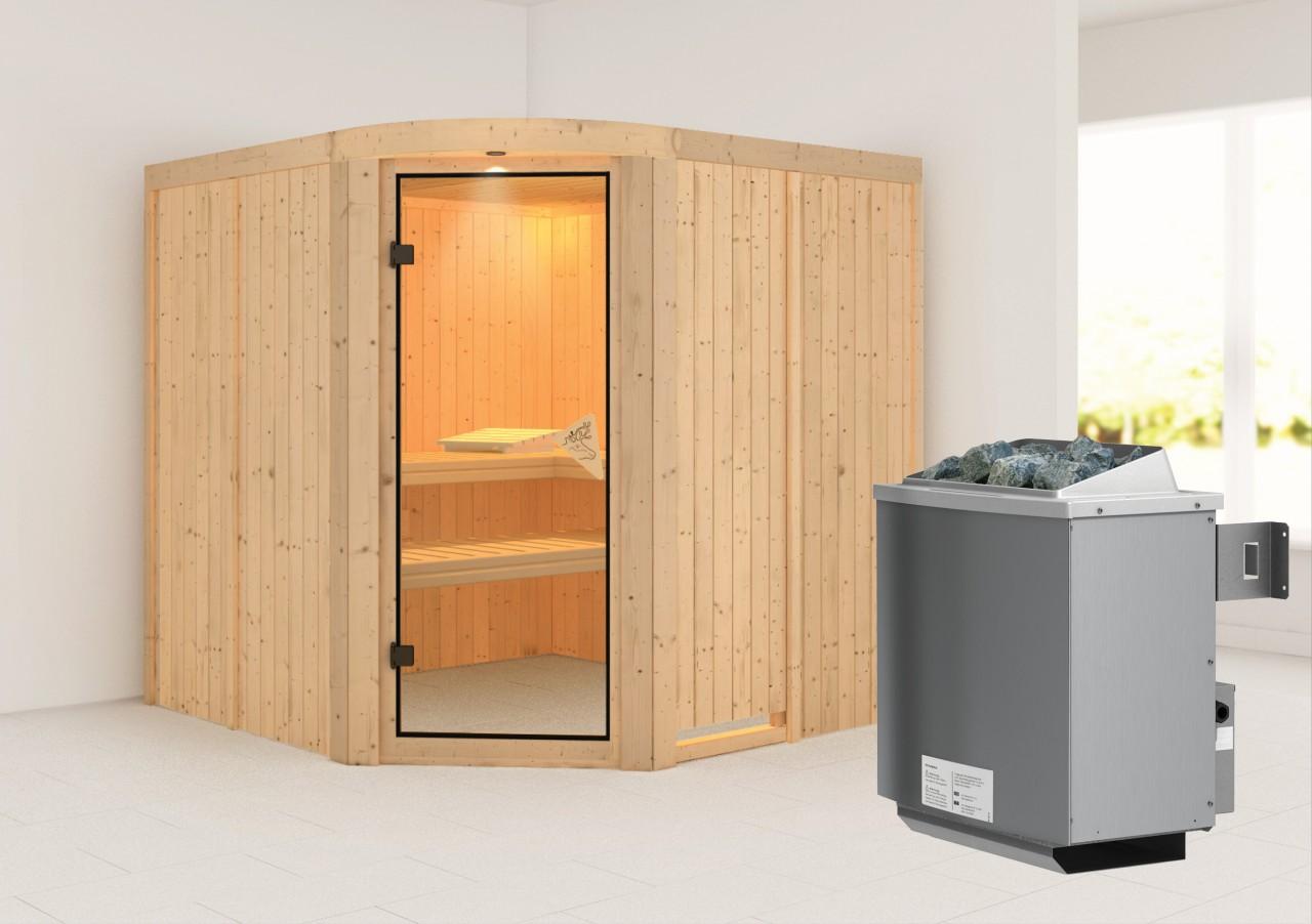 Sauna AUKURA 1,96 x 1,96 m 68 mm mit 9 kW Ofen 9.0 kW Ofen integr. Steuerung