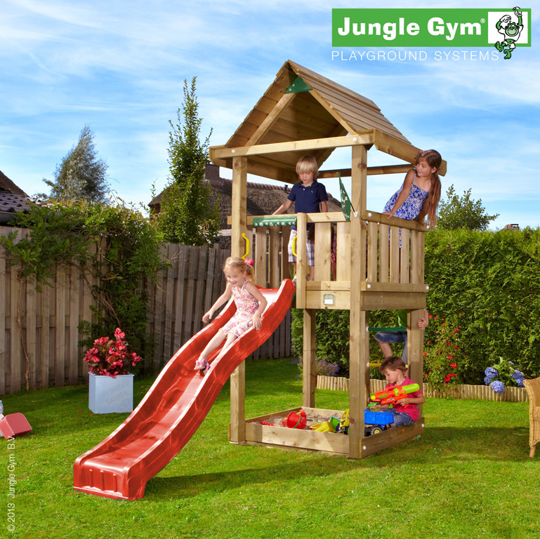 jungle gym spielturm house kletterturm mit rutsche. Black Bedroom Furniture Sets. Home Design Ideas