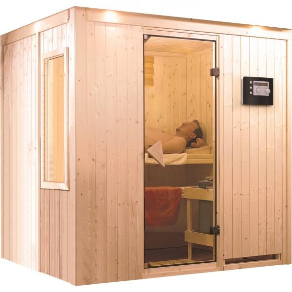 Sauna 230 Volt FANJA 1,96 x 1,51 m 68 mm mit 3,6 kW Ofen
