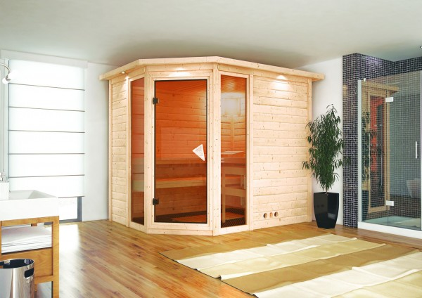 karibu massivholzsauna sinai 3 2 36 x 1 84 m 40 mm mit 9. Black Bedroom Furniture Sets. Home Design Ideas